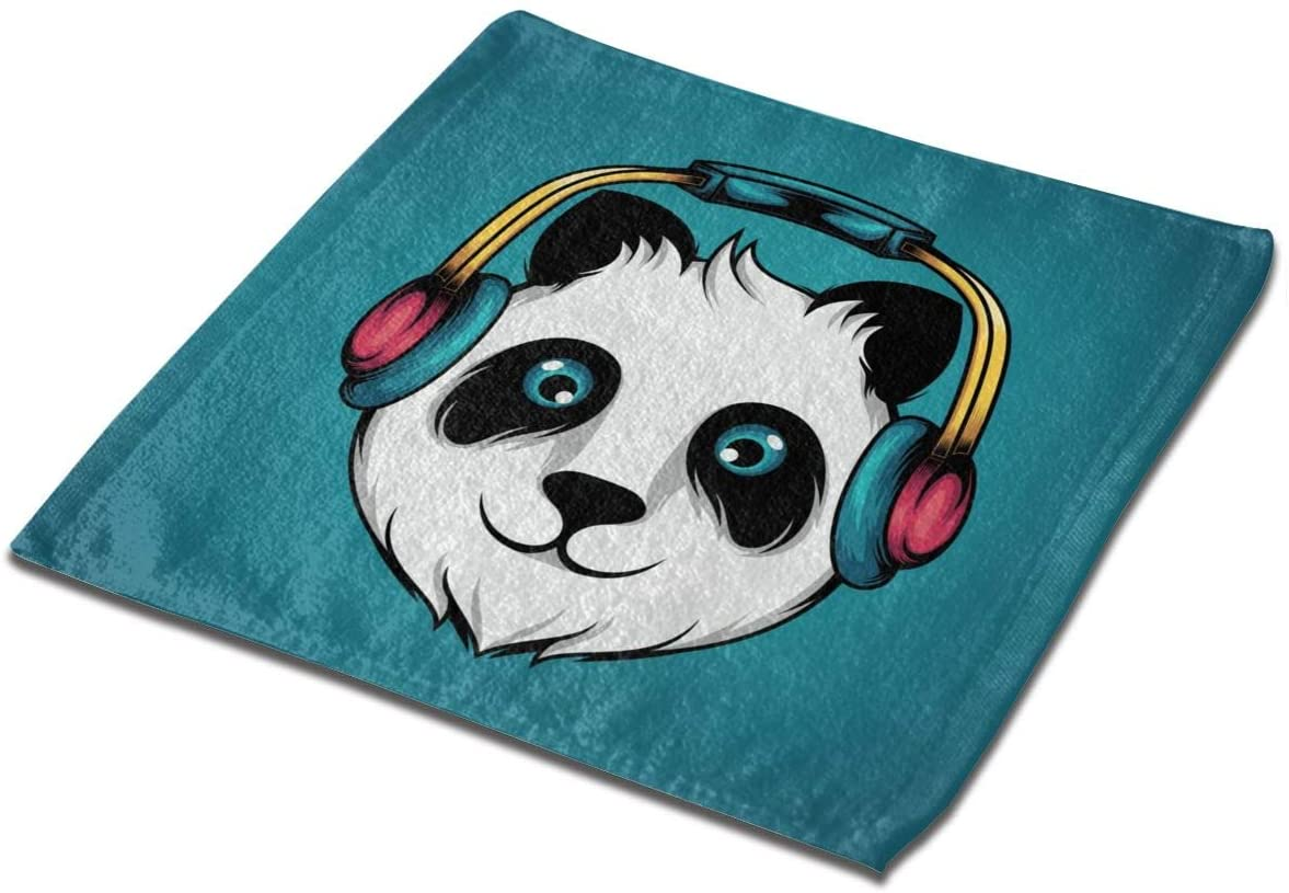 YIXKC Washcloth Towel Panda Listening to Music Square Towel Microfiber Towel Multi-Purpose Face Cloths Unisex Towel Washcloth Hand Towels Kids Bath Washcloths