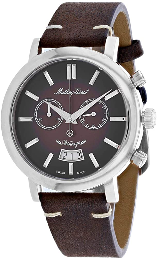 MATTHEY-TISSOT Men's Vintage Chronograph Stainless Steel Quartz Leather Strap, Brown, 20 Casual Watch (Model: H42CHAF)