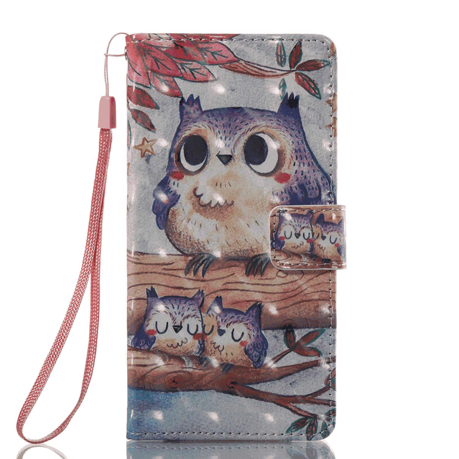PU Leather Flip Cover Compatible with iPhone X, owl Wallet Case for iPhone X