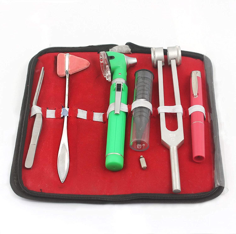 OdontoMed2011® LED Fiber Optic Otoscope Tuning Fork C128 TWEEZER Taylor Hammer Pen Light Diagnostic ENT Set Green with Free Bulb
