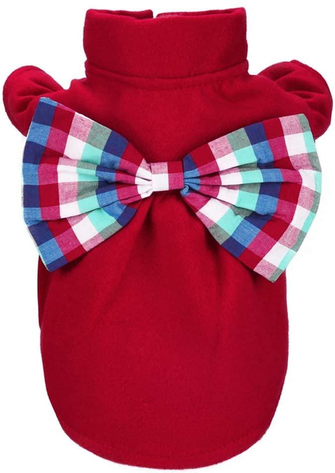 CWYP Pet Clothes Dog Clothes cat Skirt Small and Medium Dog Dress Autumn and Winter Woolen Skirt 5 Colors (XXS-L)