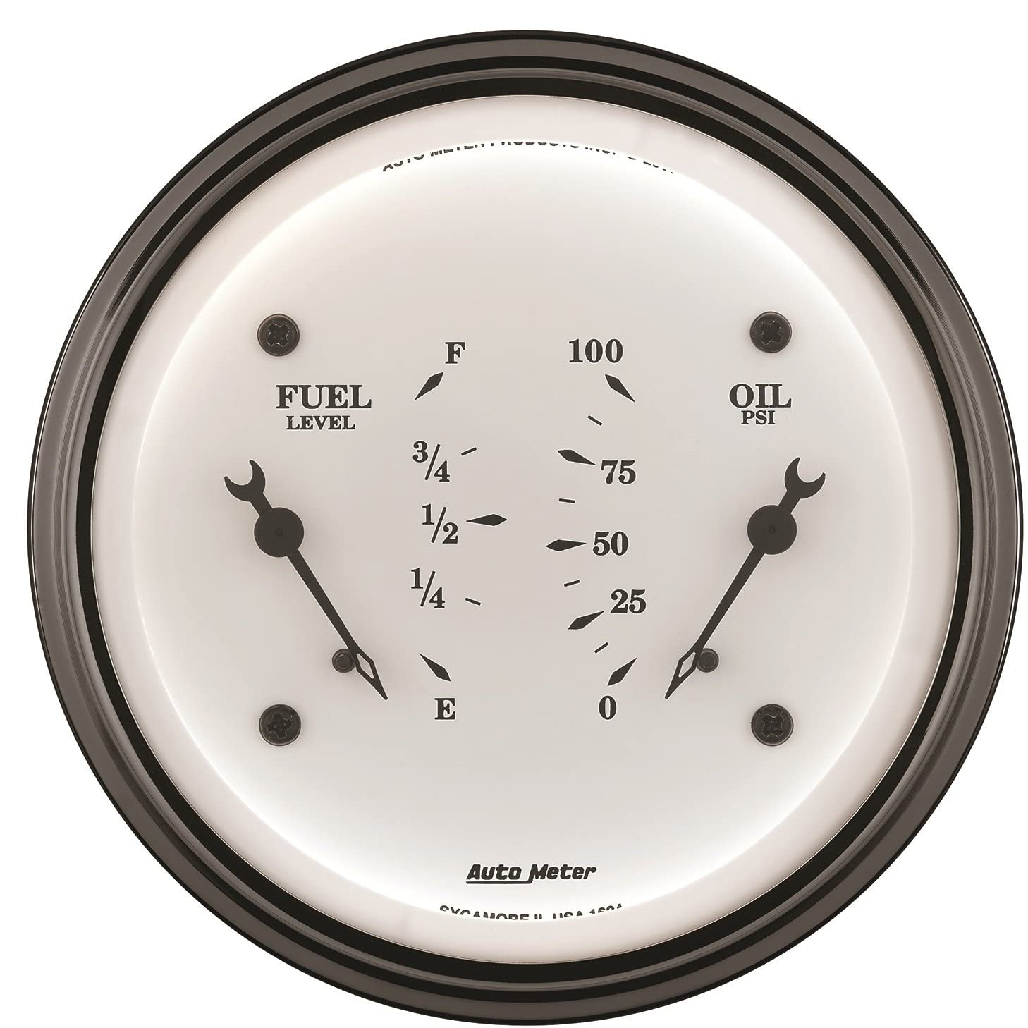 Auto Meter 1613 Old Tyme White Oil/Fuel Dual Gauge