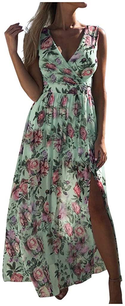 Siviki Womens V-Neck Slit Chiffon Long Dress Flower Printed Sleeveless Elegant Casual Beach Long Maxi Sundress
