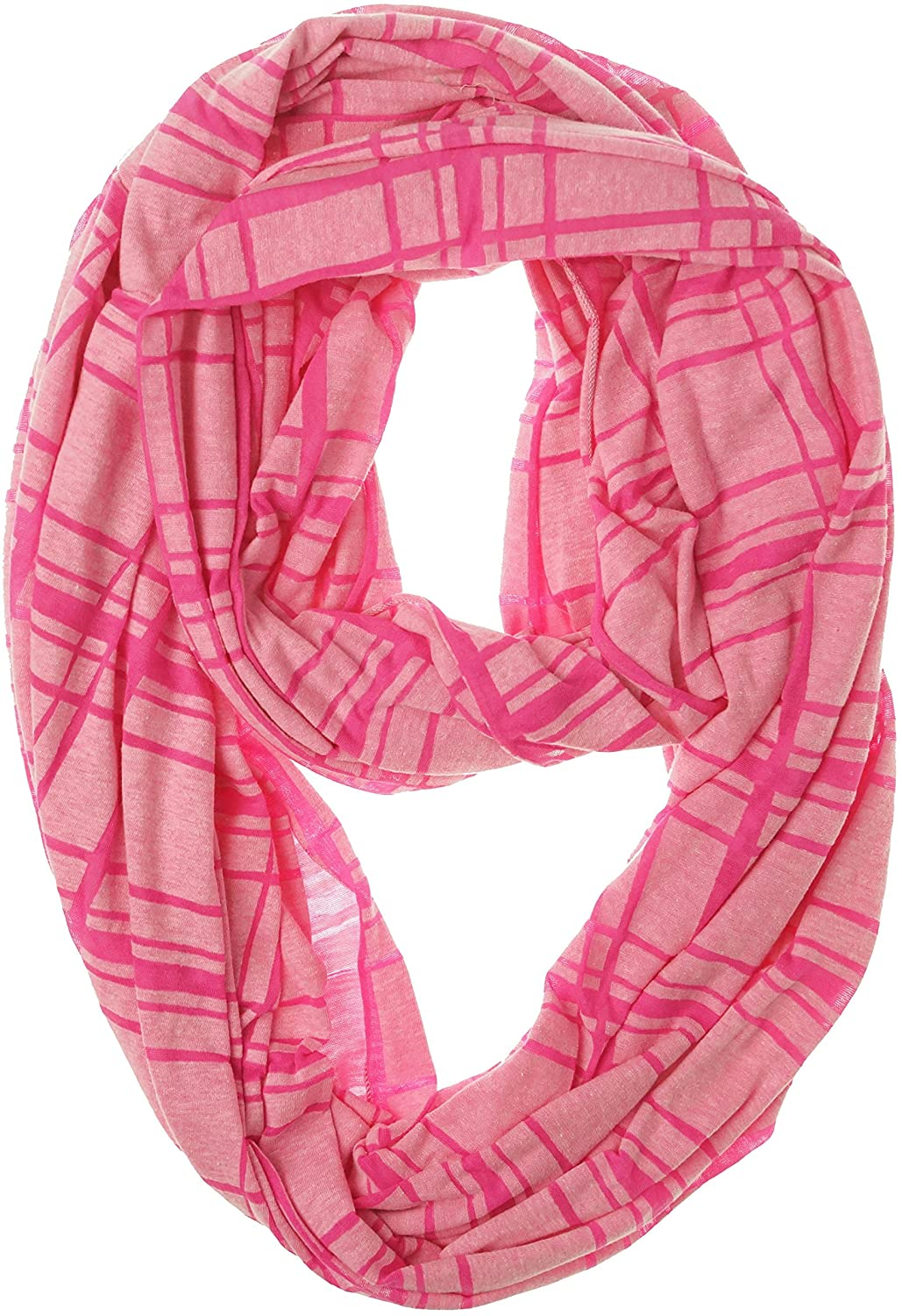 Collection XIIX Women's Striped Burnout Infinity Loop Scarf, Disco Pink