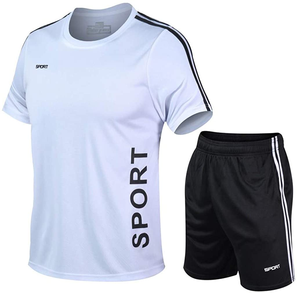 POQOQ Short Pants Sports Suit Men's Casual Fitness Fast Drying Elastic Short Sleeve