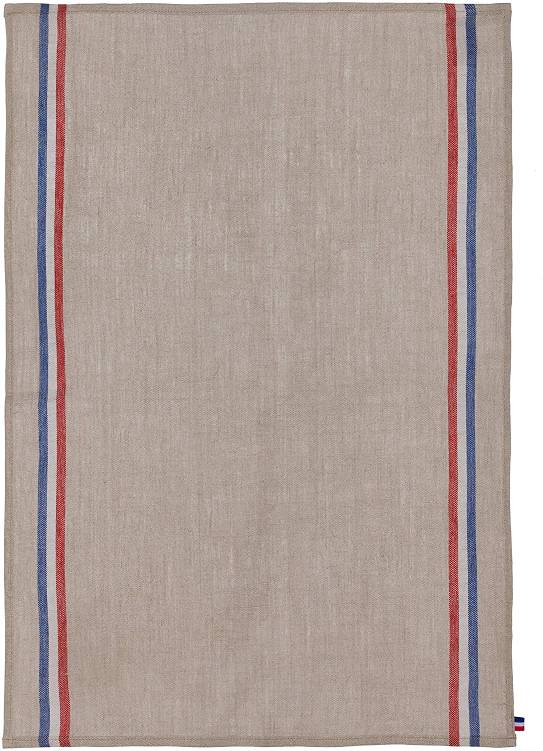 Coucke French 100% Linen Towel, Tricolore Naturel, 20 by 30 Inches, Beige, Red and Blue