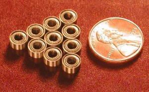 10 Shielded Bearing R144ZZ 1/8 x 1/4 x 7/64 inch Miniature Ball