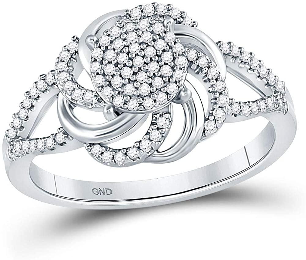 10kt White Gold Round Diamond Flower Petals Cluster Ring 1/4 Cttw for Women