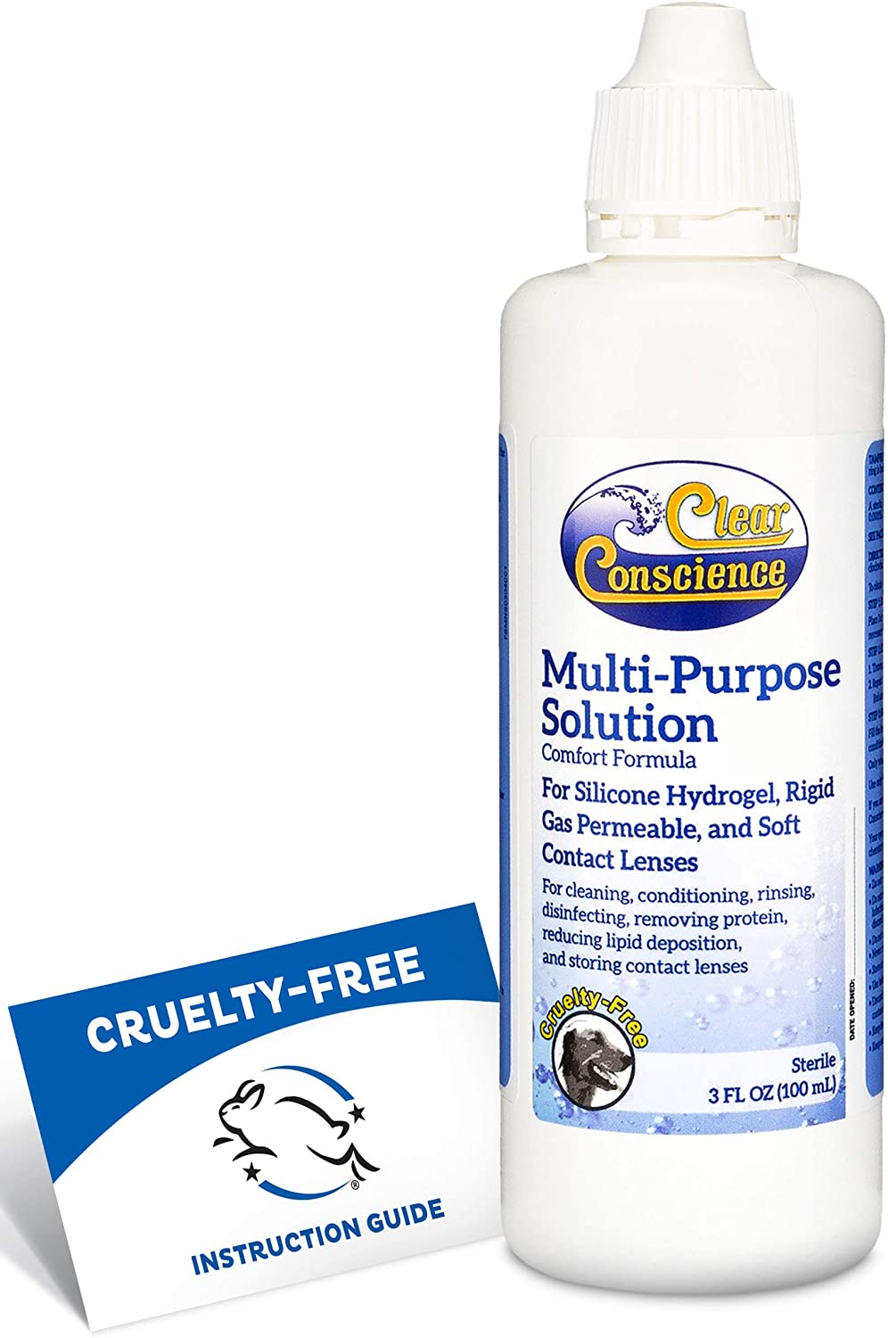 Clear Conscience Multi Purpose Contact Solution - Contact Lens Solution as a Complete Eye Solution for Contacts -Includes Cruelty Free Instruction Guide (3 oz Single Pack)
