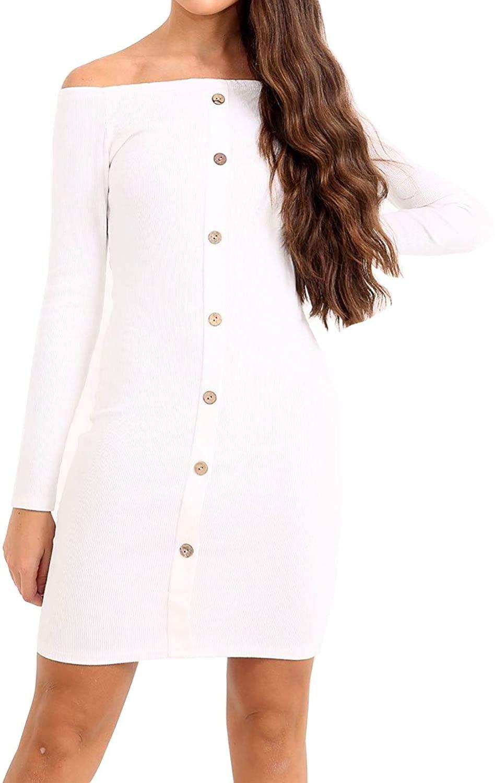 Ladies Long Sleeves Off Shoulder Midi Dress Womens Casual Wear Bodycon Dress