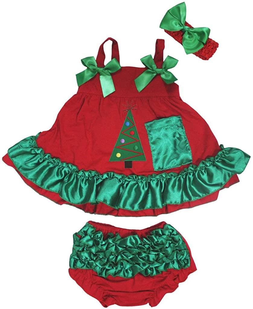 Petitebella Xmas Tree Red Green Swing Top Bloomer Baby Pant Set Nb-24m