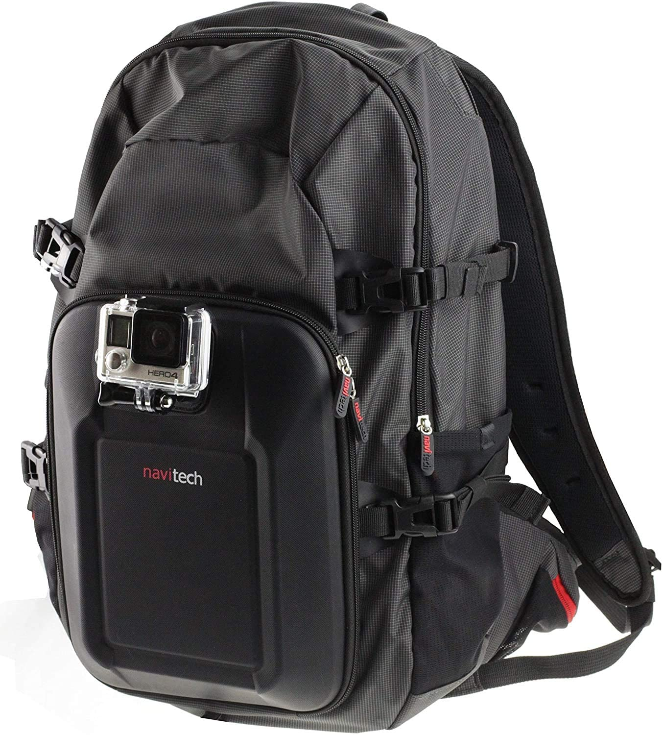 Navitech Action Camera Backpack & Grey Storage Case with Integrated Chest Strap - Compatible with The Kitvision Venture 1080P Action Camera