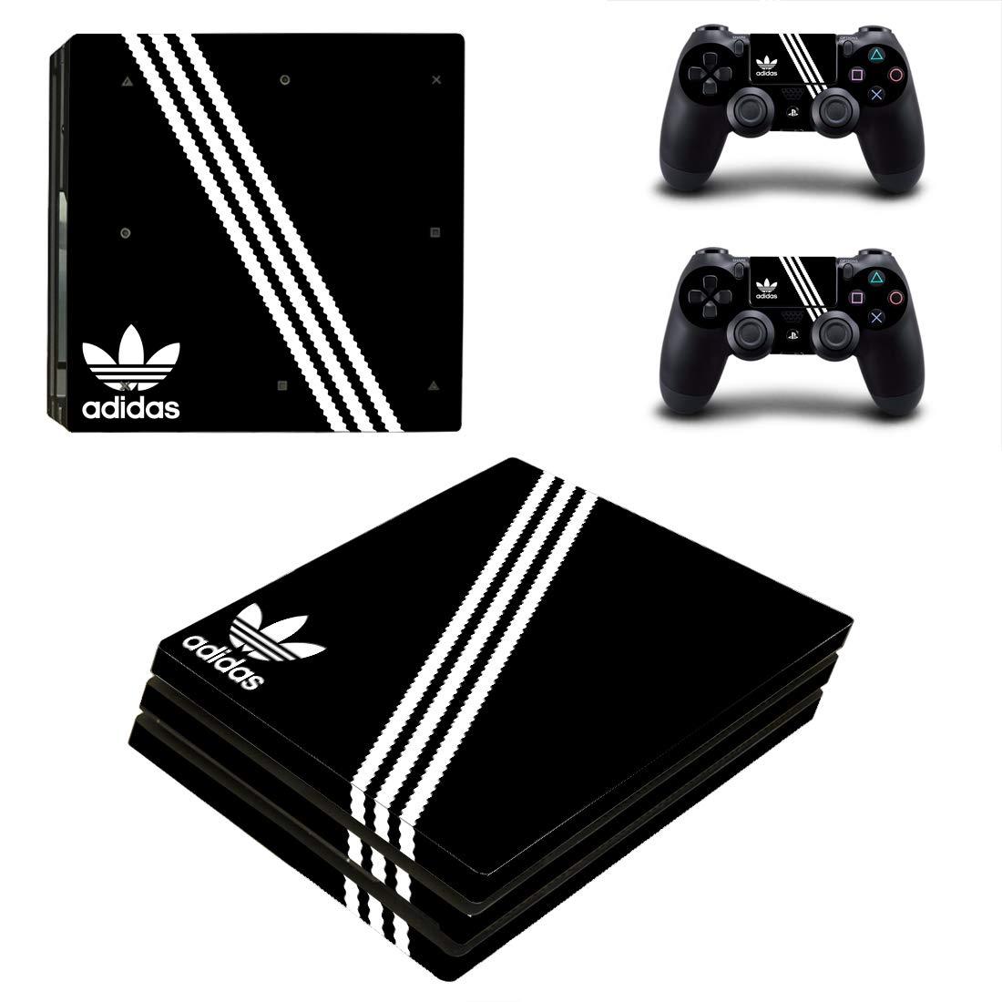 Adventure Games PS4 PRO - Adidas, Black - Playstation 4 Vinyl Console Skin Decal Sticker + 2 Controller Skins Set