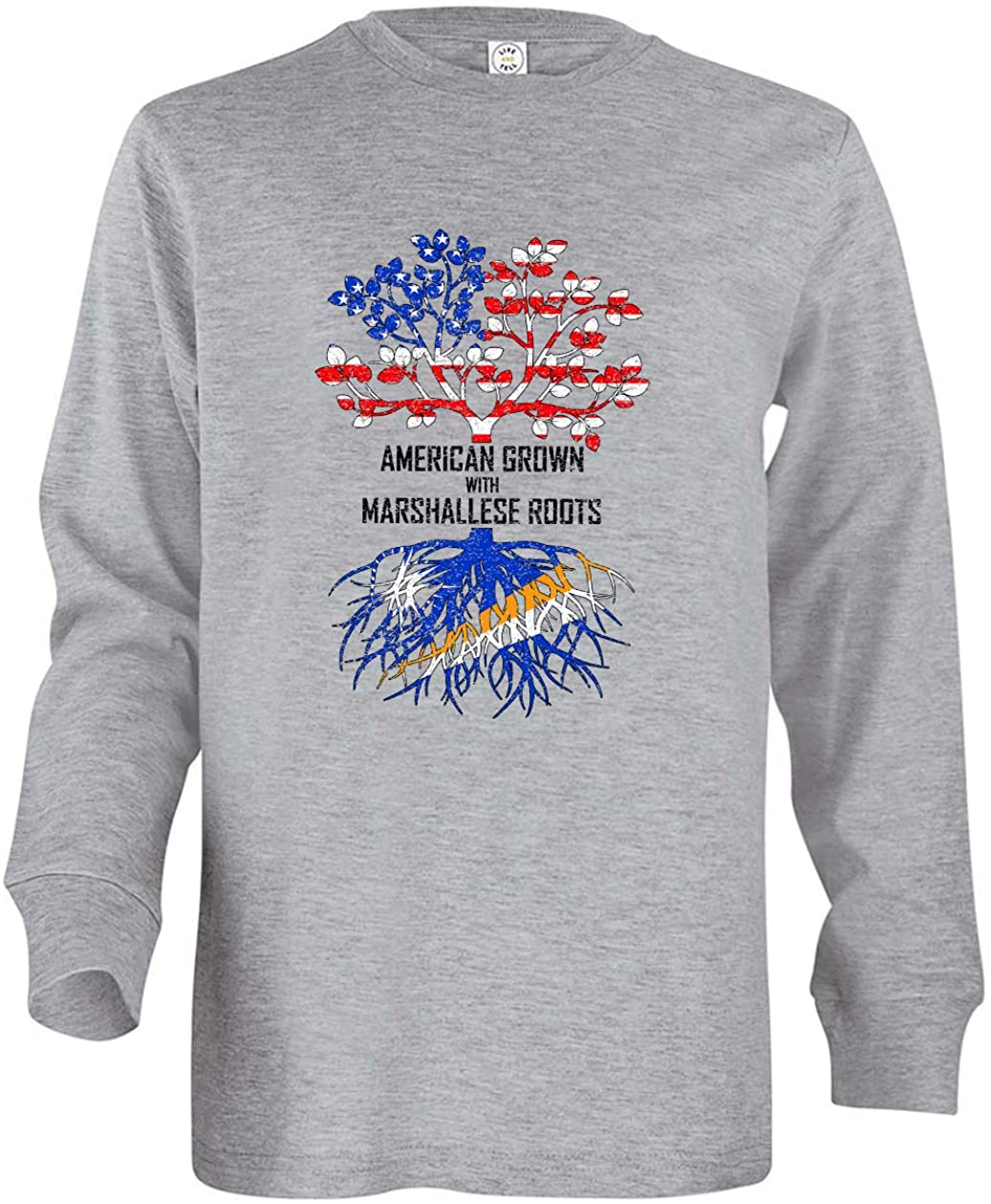 Tenacitee Boy's Youth American Grown with Marshallese Roots Long Sleeve