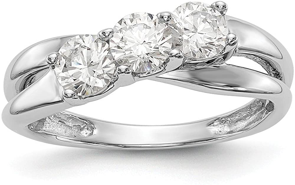 Solid 14K White Gold Three Stone Diamond Engagement Ring (.45 cttw.)
