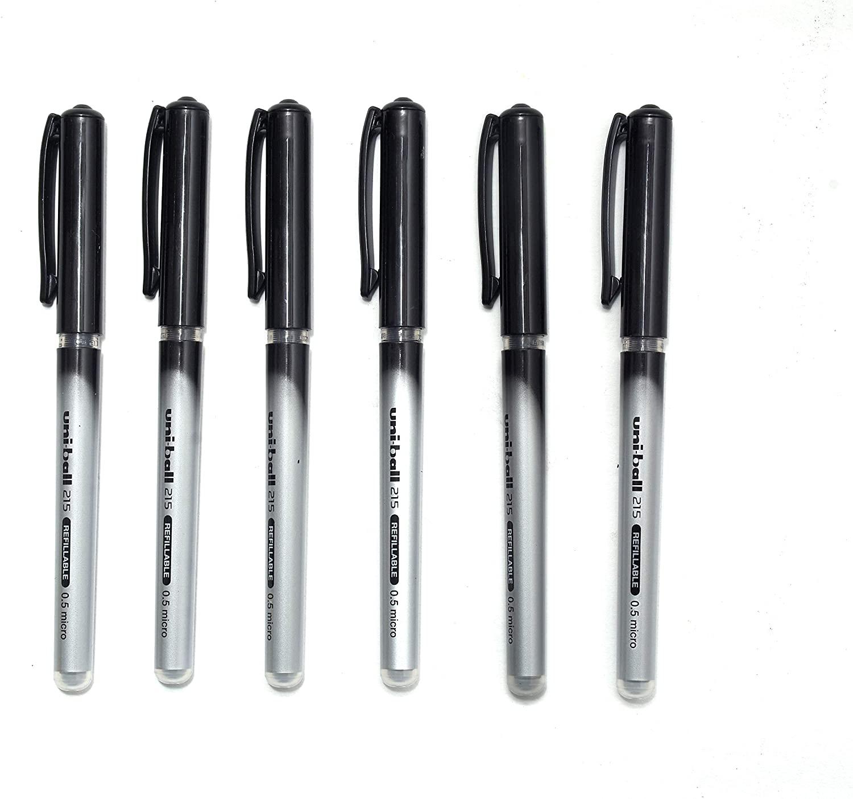 Uni-ball Pen UB 215 Refillable Micro Roller Pen (0.5mm, Black Body, Black Ink, Pack of 6)