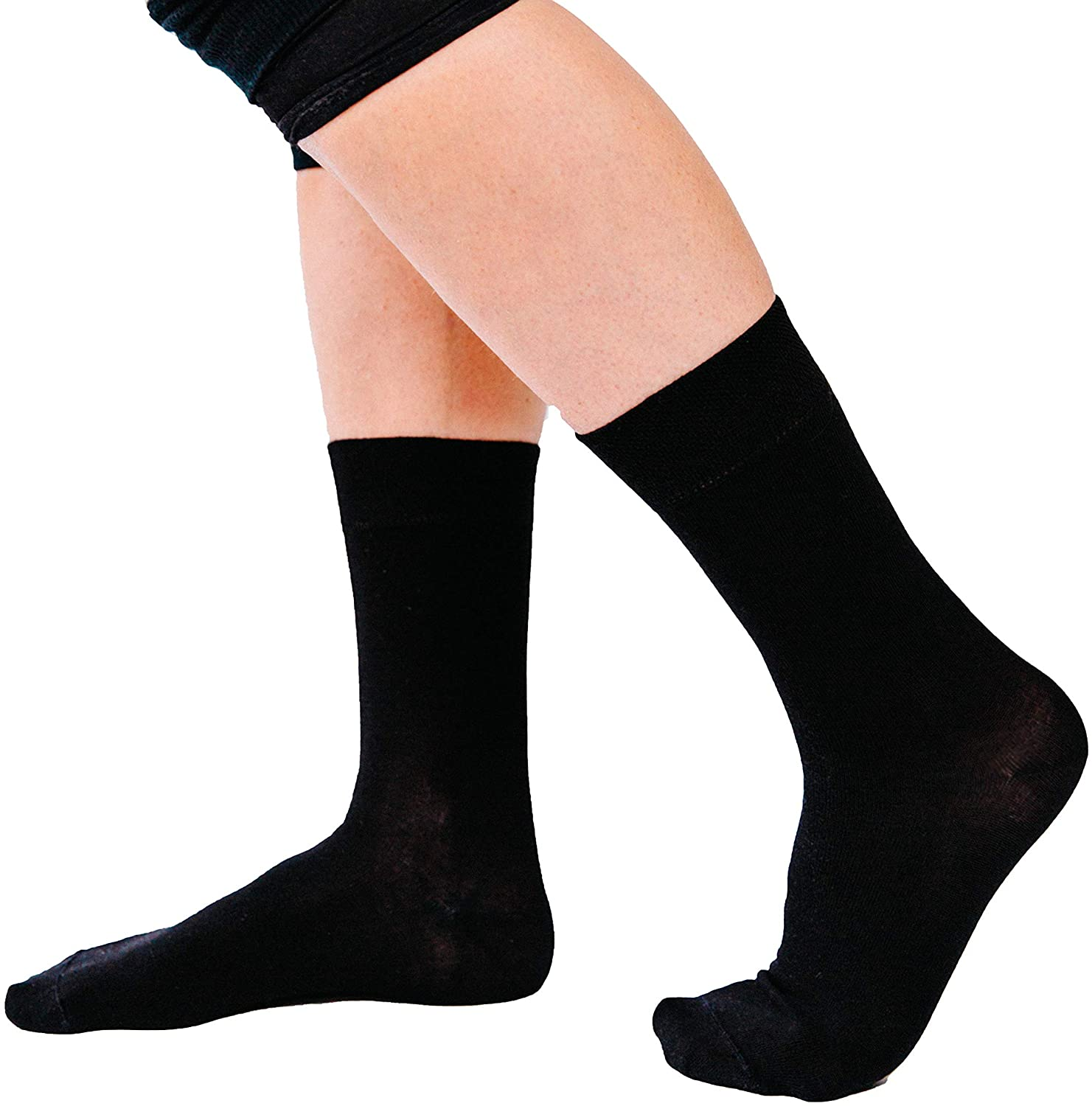 YoRo Naturals, RemedyWear Soft Moisturizing Eczema Socks for Adults, Inflammation Relief with Tencel and Zinc (Adult S, Black)