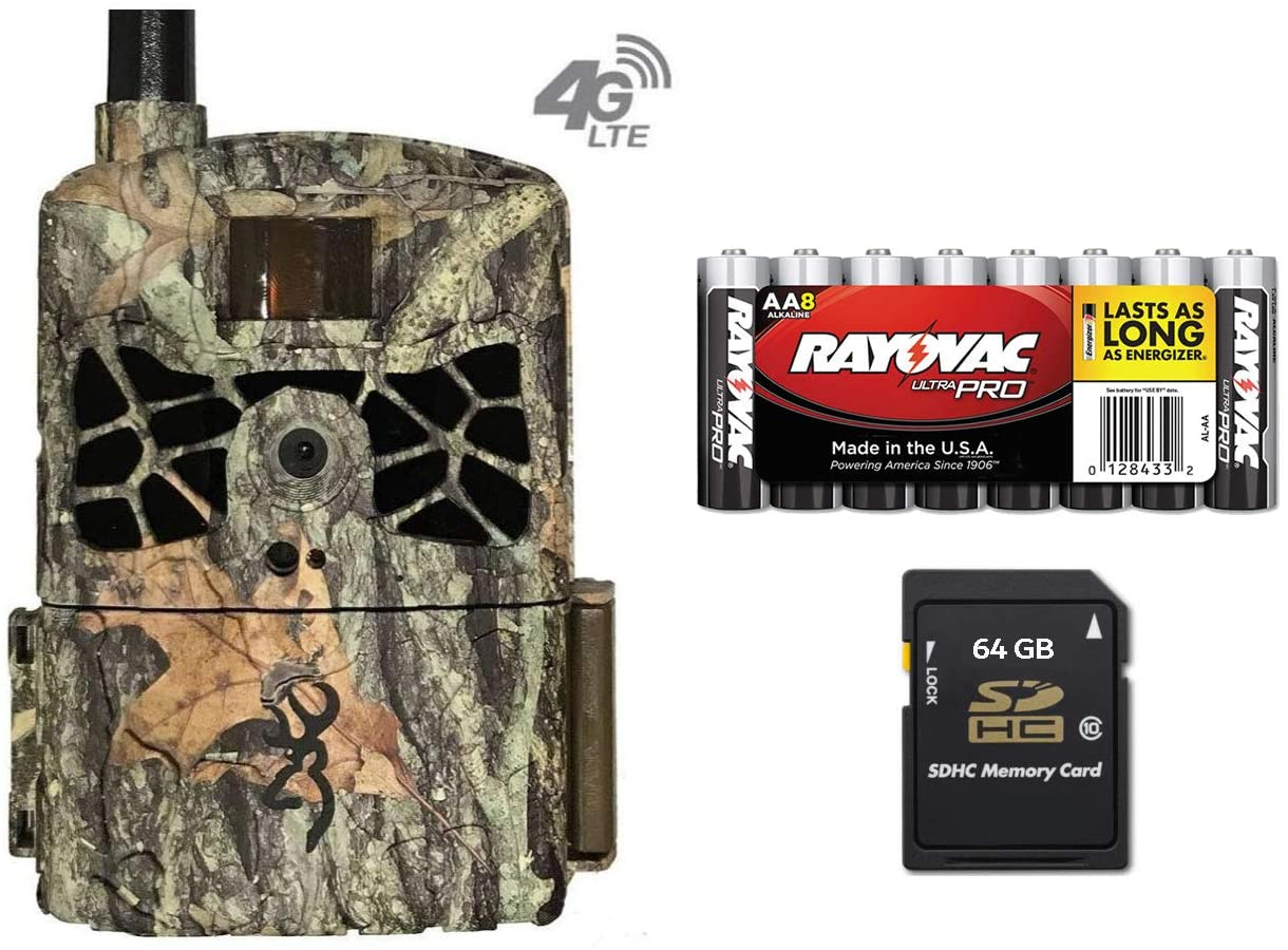 Browning Trail Cameras Defender Wireless 20MP Networked Game Cam, AT&T Cellular BTC-DWC-ATT Kit 64 GB Card & 8 Pack AA Batteries