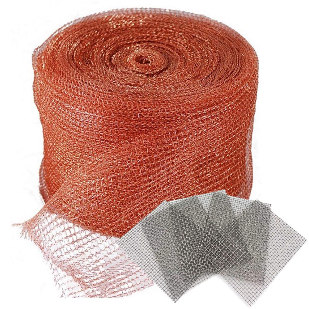 Copper Mesh 5 X 50 Feet,with 5 pcs Stainless Steel Wire Mesh