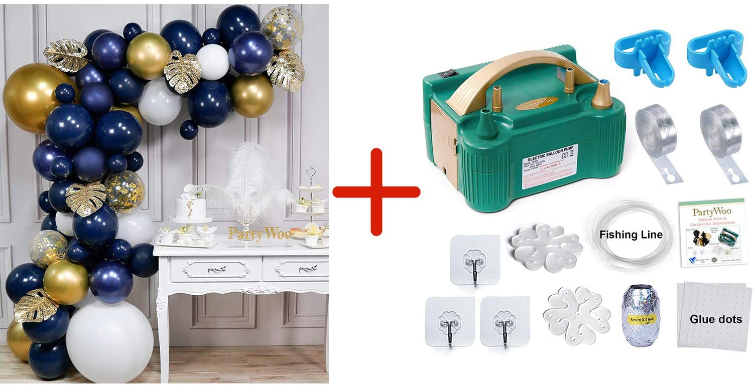 Bundle - Navy and Gold Balloon Arch Kit 67 pcs and Balloon Pump