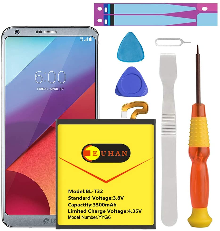LG G6 Battery, Euhan 3500mAh Li-Polymer Battery BL-T32 Replacement for LG G6 (H870 H871 H872 LS993 VS998) with Repair Screwdriver Tools | LG G6 Battery Replacement Kit [ 1 Year Warranty]