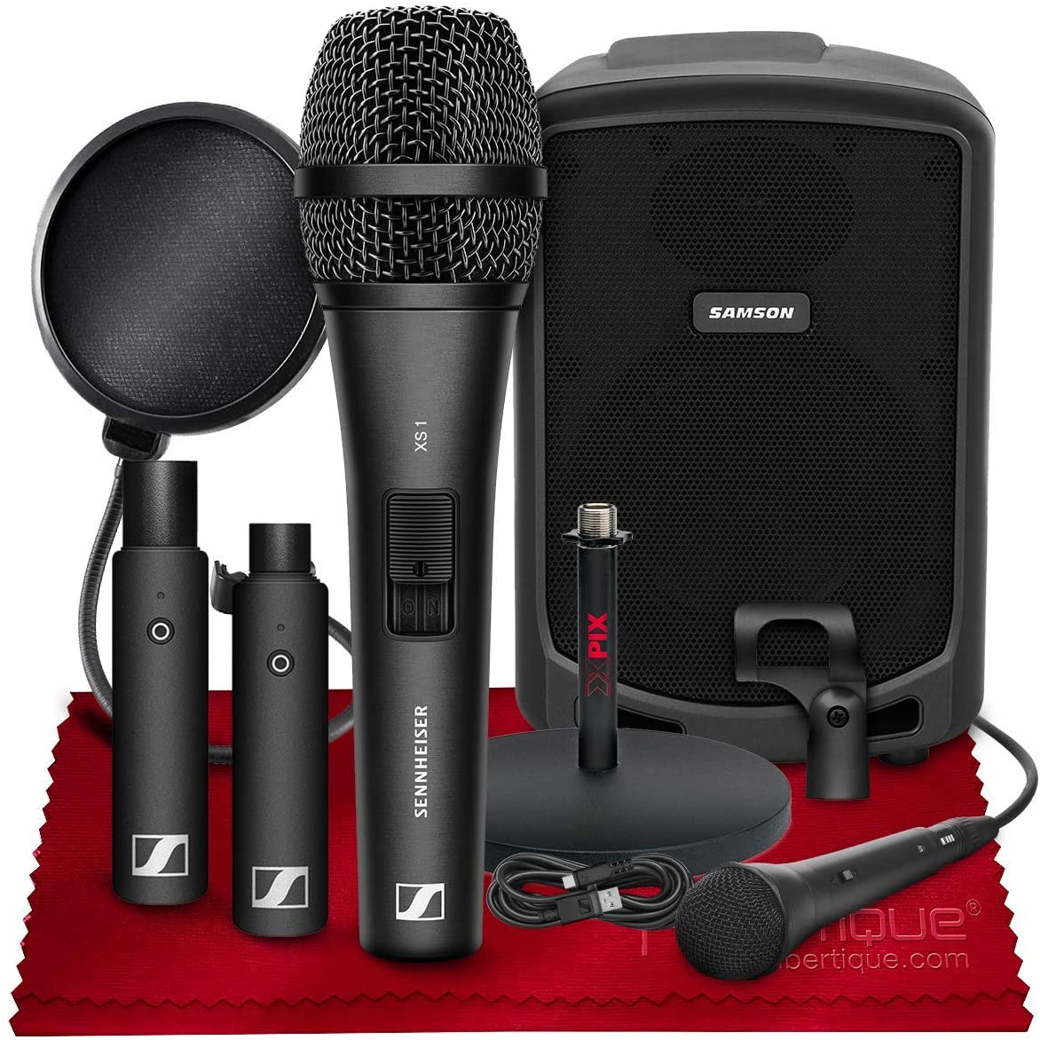Sennheiser XSW-D VOCAL SET Digital Wireless Plug-On Microphone System with Handheld Mic w/Samson Expedition Express Portable PA Speaker, and Accessories - Ideal for Teaching or Preaching