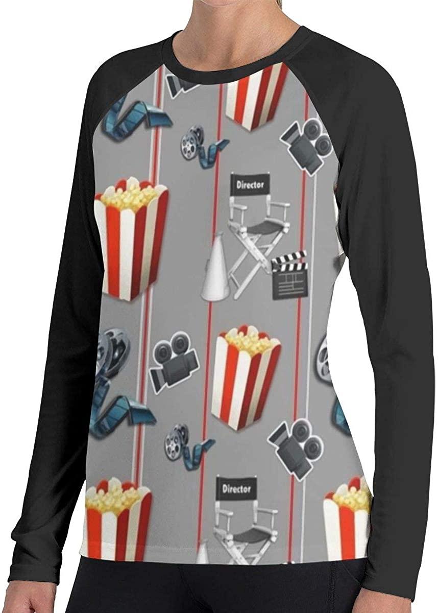 Fengyaojianzhu Women's Movies Watcher Popcorn Comfort Long Sleeve Tops Sweatshirt Tee T-Shirt