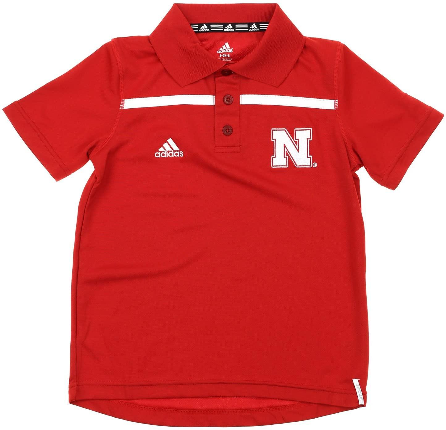 adidas Nebraska Cornhuskers NCAA Youth Big Boys Short Sleeve Amped Coach Polo, Red