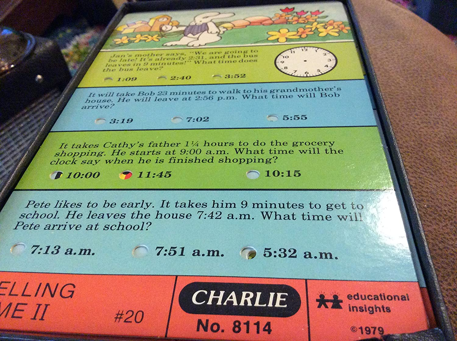 Charlie the Lovable Teaching Robot Telling Time II Punchcards