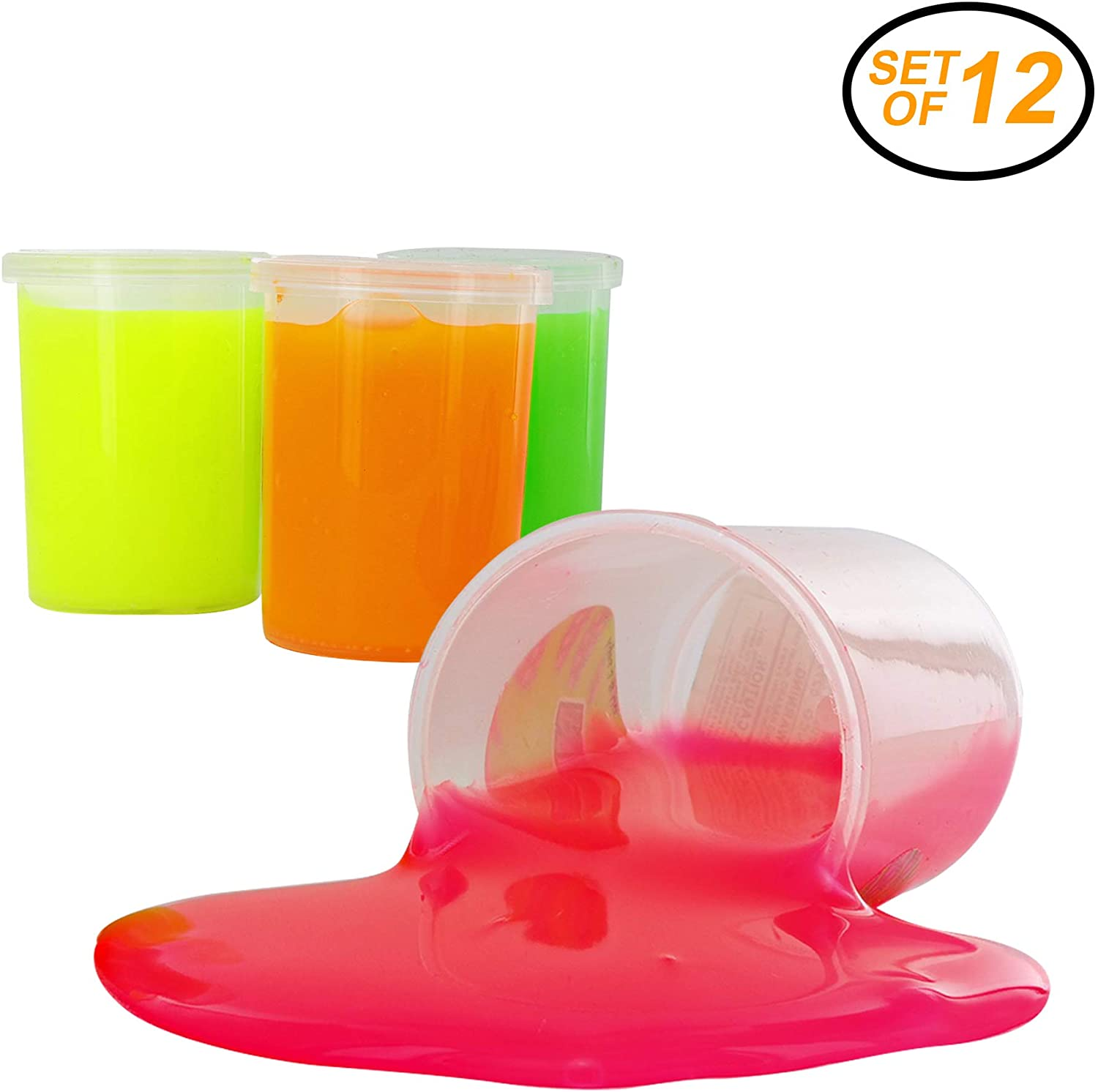 Srenta Funny Neon Slime Putty Mud Clay Plasticine Sludge Stress Reliever Toys for Kids. Pack of 12