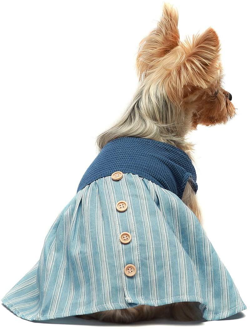 Fitwarm Dog Clothes Retro Casual Puppy Dresses Doggie Outfits Pet Cat Apparel Lightblue