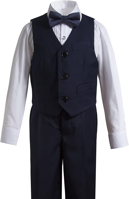 Gele Boy 4 Pieces Formal Wear Suit,Vest+Pants+Shirt+Bow Tie