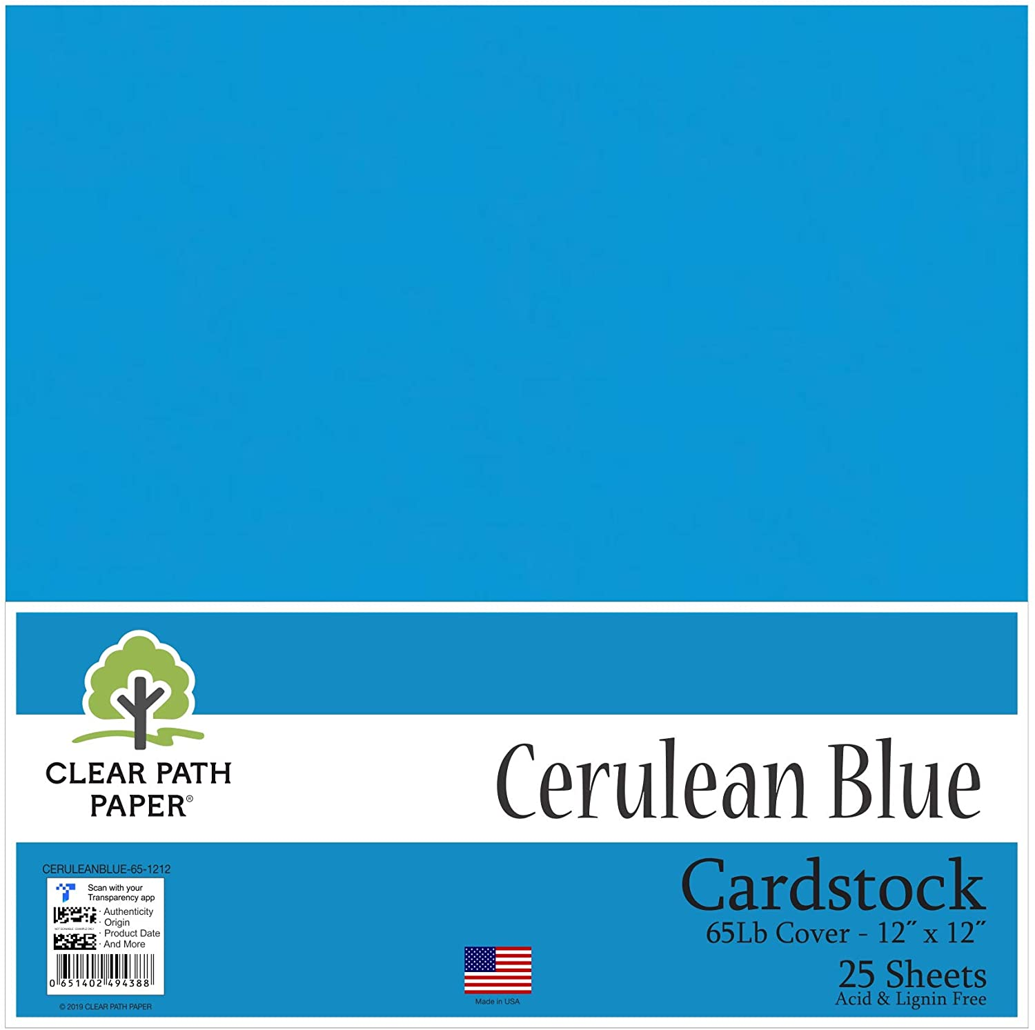 Cerulean Blue Cardstock - 12 x 12 inch - 65Lb Cover - 25 Sheets