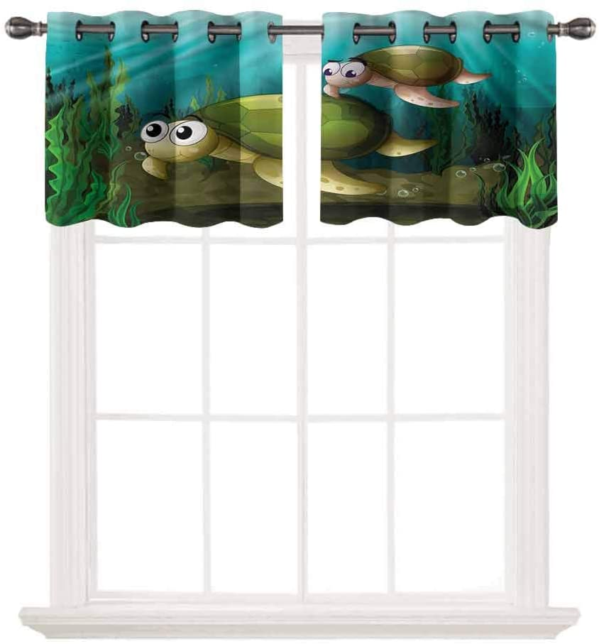 oobon Privacy Protection Kitchen Valances,Turtle,Mother Hatchling Children,for Windows Room Blackout Curtain Valances for Bedroom,W42 by L18,2 Panels