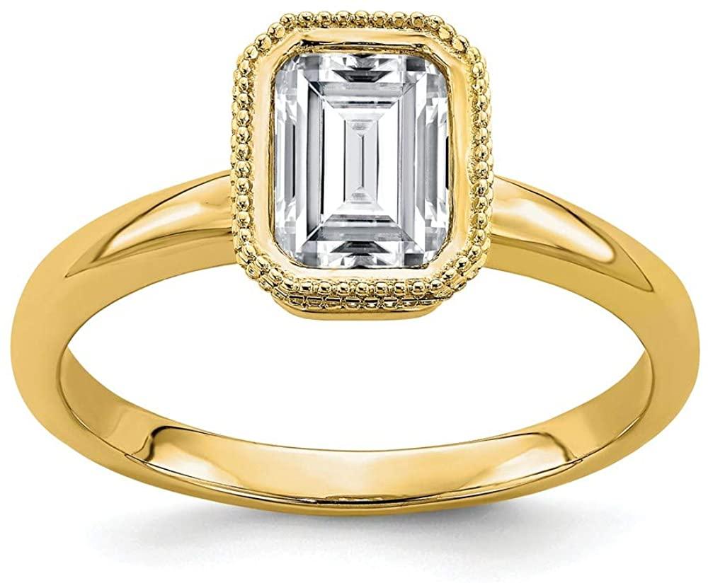 14k Yellow Gold Solitaire 1.75ct. Emerald Beaded Bezel Moissanite Engagement Ring Ri
