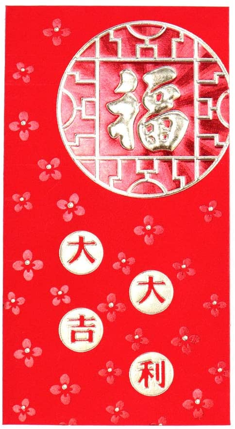 Feng Shui Import 6 pcs Chinese Lucky Money Red Envelopes Hong Bao for Lunar New Year Wedding Party-Good Blessing