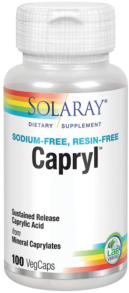 Solaray Capryl | Sustained Release Caprylic Acid | Healthy Gastrointestinal Tract Support | 16 Servings | 100 VegCaps