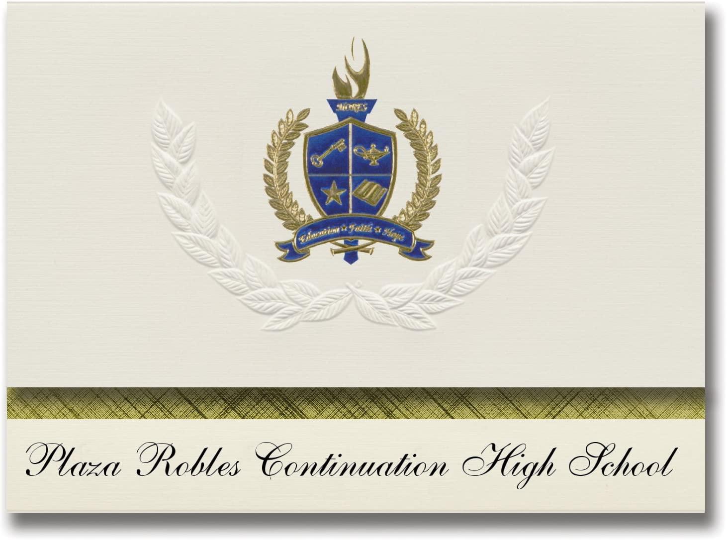 Signature Announcements Plaza Robles Continuation High School (Stockton, CA) Graduation Announcements, Presidential Elite Pack 25 with Gold & Blue Metallic Foil seal