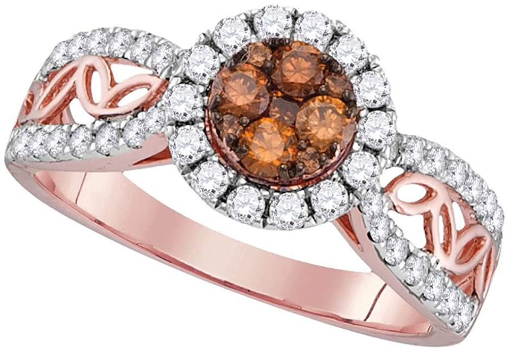 Dazzlingrock Collection 10kt Rose Gold Womens Round Brown Diamond Circle Frame Cluster Ring 1 Cttw