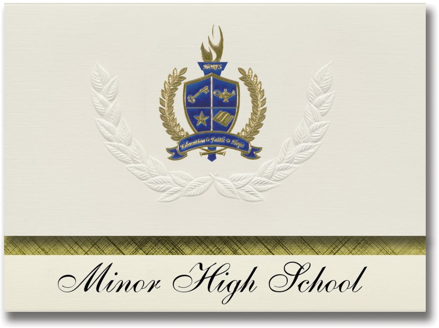 Signature Announcements Minor High School (Adamsville, AL) Graduation Announcements, Presidential style, Basic package of 25 with Gold & Blue Metallic Foil seal