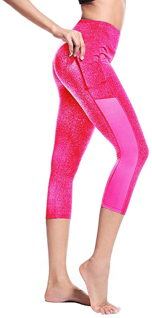 Alalaso Women's Side Pocket Stitching Tight Running Stretch Seven-Point Yoga Pants