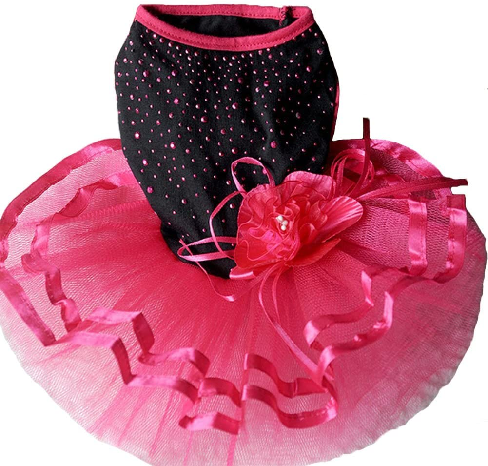 Topsung Pet Blingbling Tutu Dress Red&Black Lace Dog Skirt Small Cats/Dogs Clothes