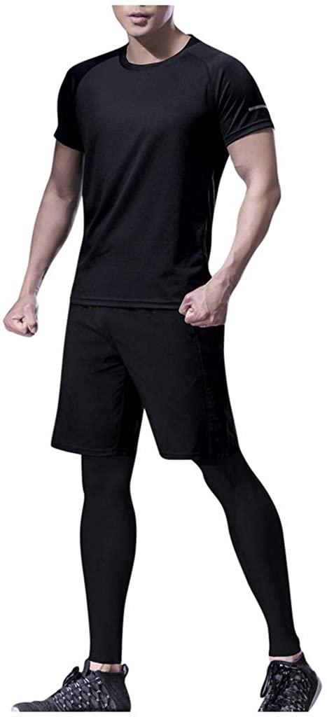 POQOQ T-Shirts Short Sleeve Shorts Long Pants Sports Sets 3PC Men's Summer Fitness Pure Color