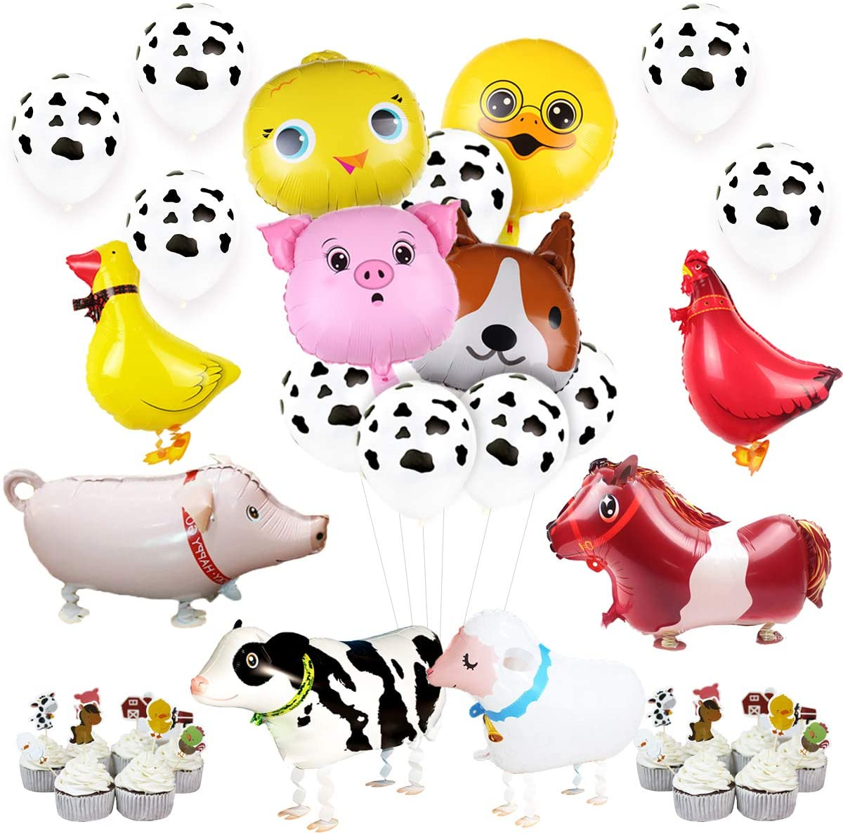 JOYMEMO Farm Animal Party Decorations Walking Animal Balloons Cake Toppers Cow Print Balloons for Boy or Girl Barnyard Farm Animals Birthday Baby Shower Party