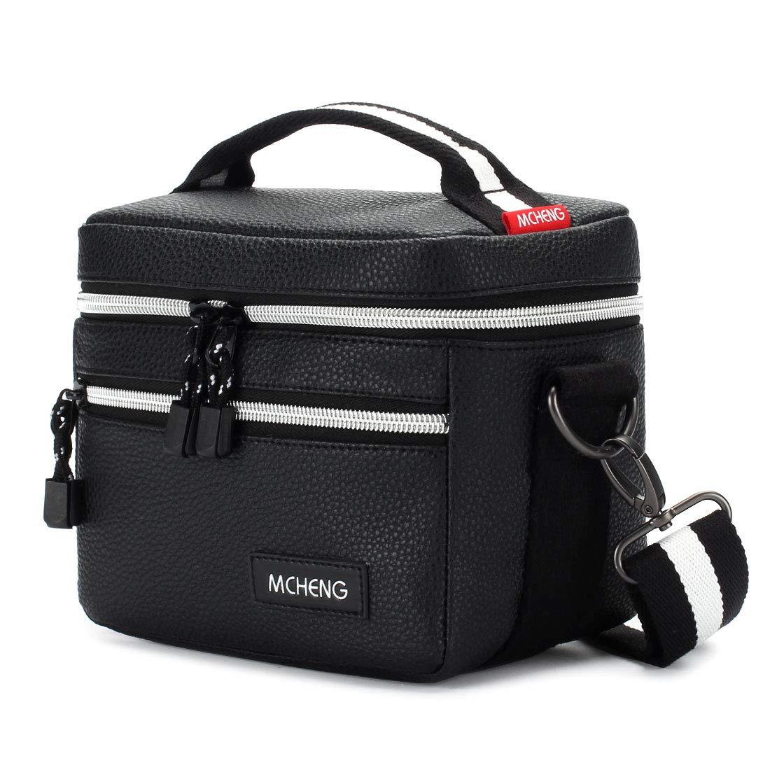 MCHENG Waterproof Shock Resistant Camera Messenger Bag with Durable Shoulder Strap for Canon EOS Rebel T6 PowerShot G7 X Mark II / Nikon D750 / SONY Cyber-Shot DSC-HX400V / Panasonic LUMIX GH5, Black