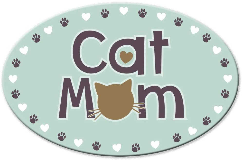 Cat Mom - Oval Shaped Magnet - 6.5