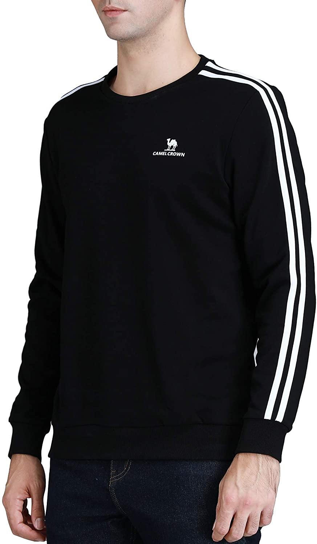 Mens Crewneck Fleece Sweatshirt Lightweight Base Long Sleeve Casual Sweatshirts Active Tops Sportswear Fall Autumn Spring