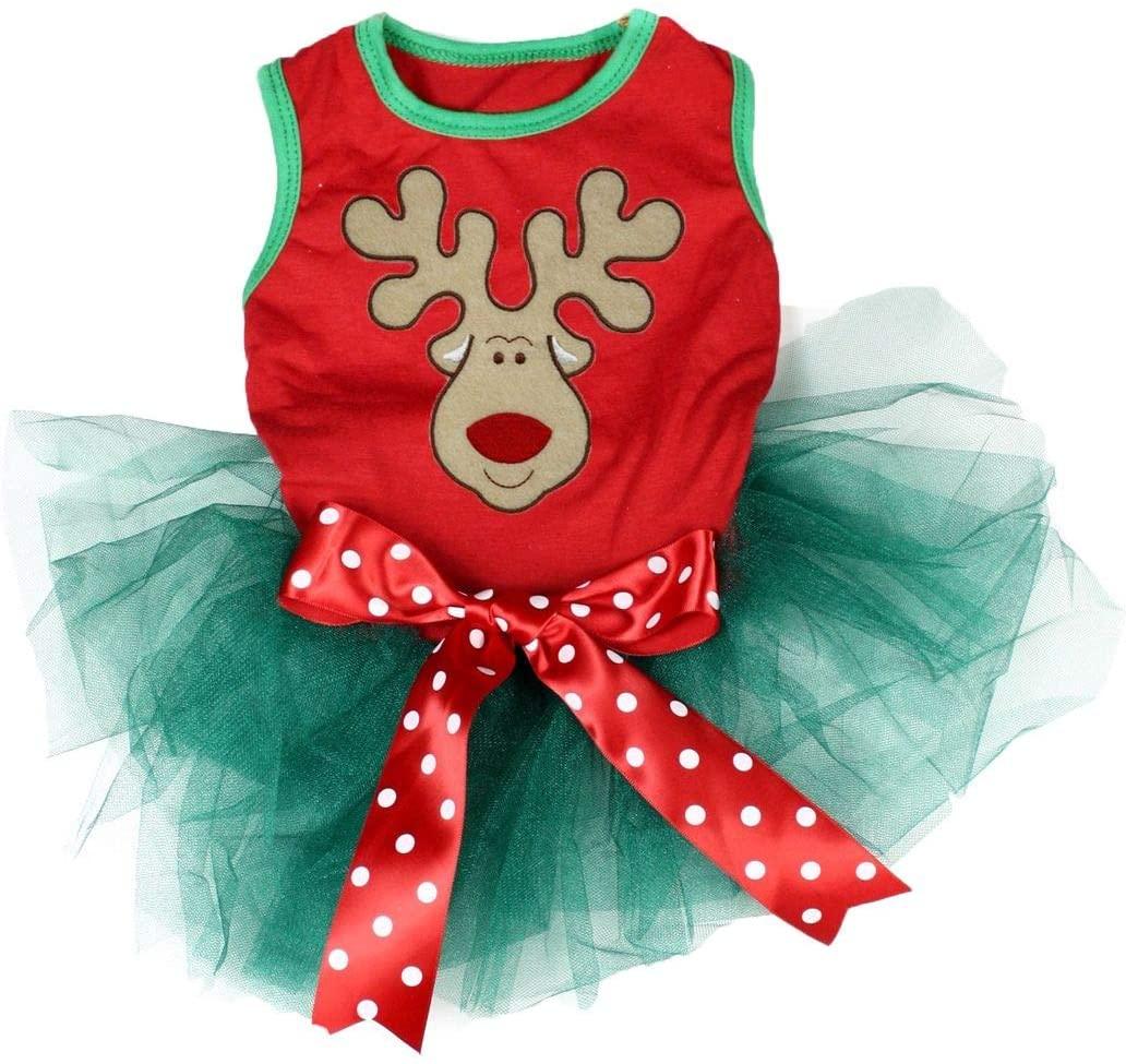 Petitebella Reindeer Face Puppy Dog Dress