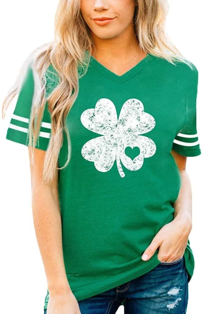 YAnGSale Top Women T-Shirt Stripe Flower Print Blouse Short Sleeve Tee Tops V-Neck Shirts Vest Green Tunics Streetwear Tanks