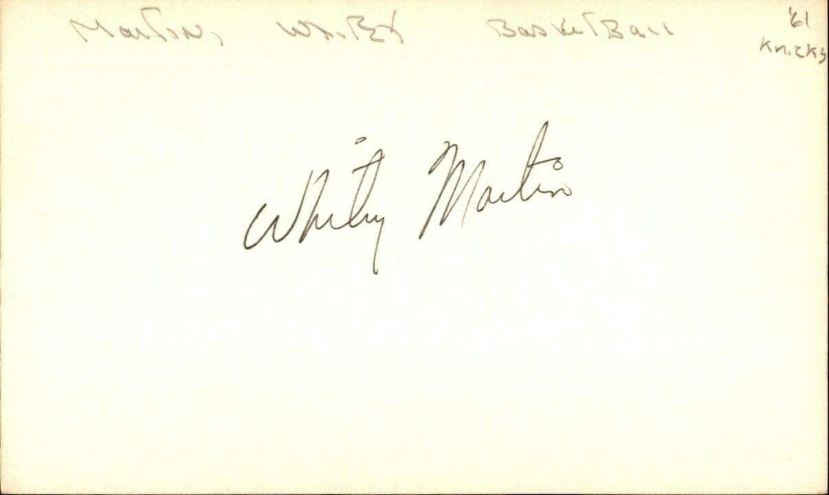 Whitey Martin Signed Index Card 3x5 Autographed Knicks 60713